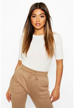 Cream Soft Knit Crew Neck Longline Top