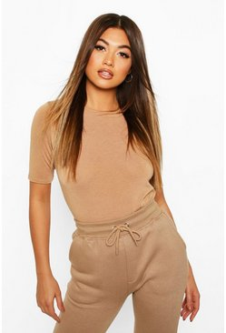 Toffee Soft Knit Crew Neck Longline Top