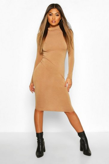 Toffee Soft Knit Roll Neck Midi Dress