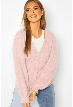 Womens Blush Button Through Fluffy Texture Knit Cardigan