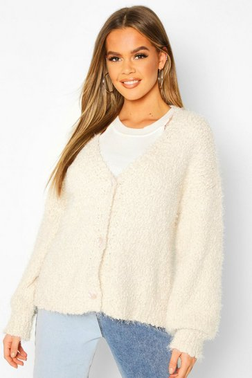 Cream Button Through Fluffy Texture Knit Cardigan