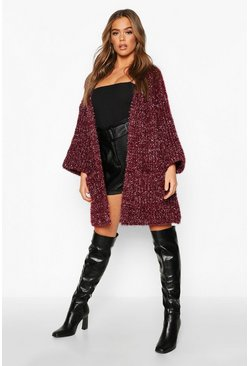 Berry Metallic Tinsel Knit Oversized Cardigan