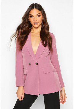 Womens Mauve Double Breasted Blazer