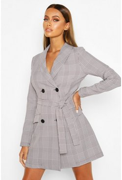 Womens Grey Dog Tooth Check Double Breasted Belted Blazer Dress
