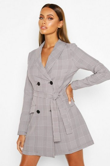 Grey Dog Tooth Check Double Breasted Belted Blazer Dress