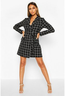 Womens Black Grid Check Belted Blazer Dress