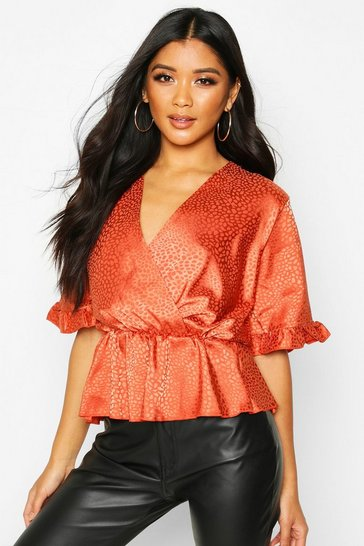 Rust Leopard Satin Ruffle Wrap Over Peplum Blouse