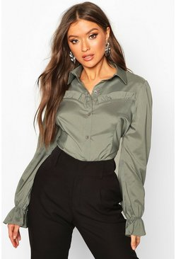 Sage Ruffle Detail Tailored Woven Blouse