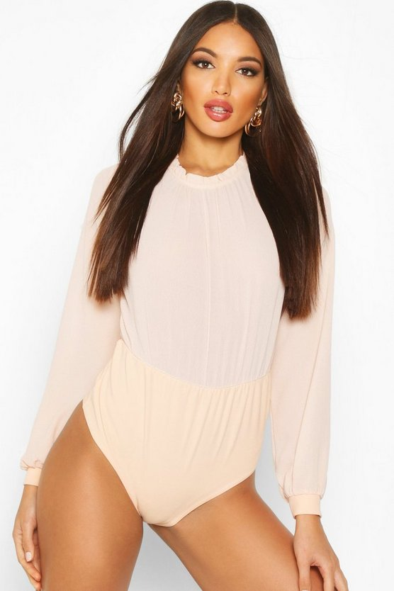 Blush Long Sleeve Woven Frill Neck Detail Bodysuit