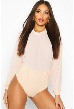 Womens Blush Long Sleeve Woven Frill Neck Detail Bodysuit