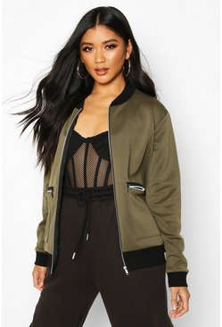 Khaki Zip Pocket Detail Bomber Jacket