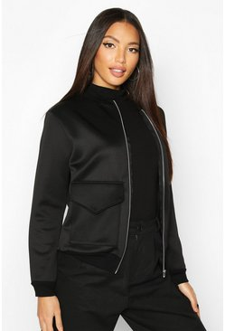 Black Pocket Front Contrast Lined Bomber Jacket
