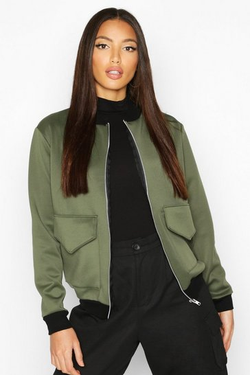 Womens Khaki Pocket Front Contrast Lined Bomber Jacket
