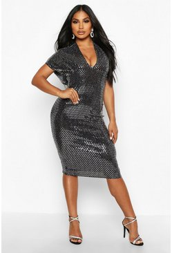Silver Large Sequin Batwing Midi Dress