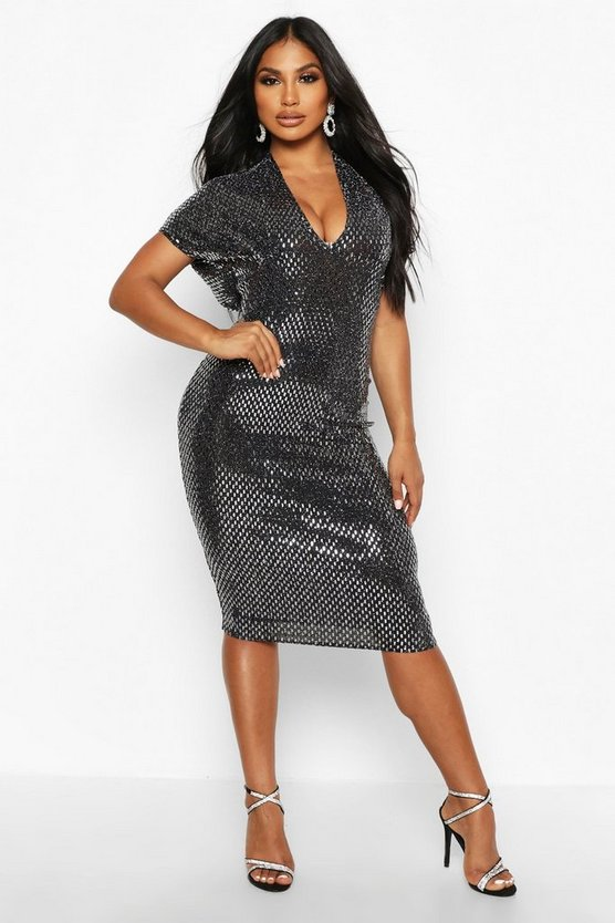 Large Sequin Batwing Midi Dress Large Sequin Batwing Midi Dress by Boohoo