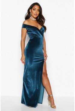 Womens Teal Velvet Bardot Maxi Dress