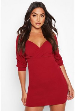Dam Berry Off Shoulder Crepe Mini Dress