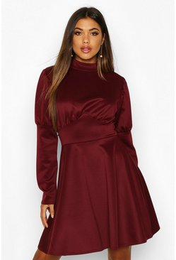 Womens Berry Puff Sleeve High Neck Skater Dress