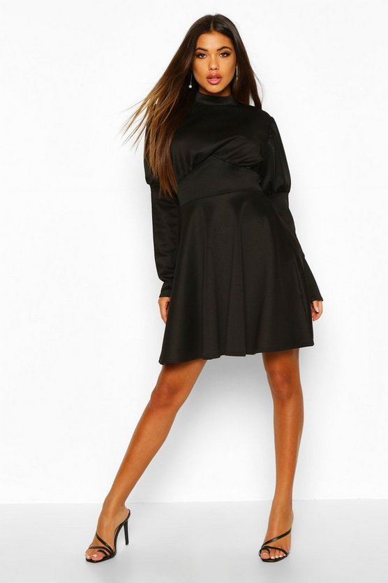 Black Puff Sleeve High Neck Skater Dress