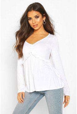 Womens White Ruffle V-Neck Long Sleeved Peplum Top
