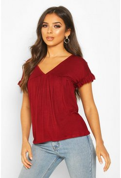 Wine Ruffle Sleeve Smock Top