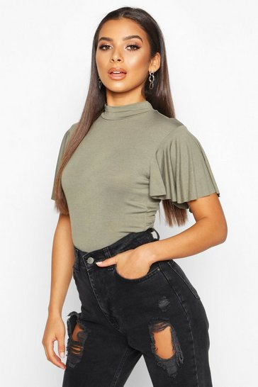 Womens Khaki Angel Sleeve High Neck Top