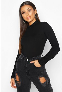 Womens Black Ruched Sleeve High Neck Top