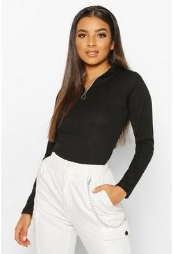 Womens Black Zip Front Rib High Neck Top