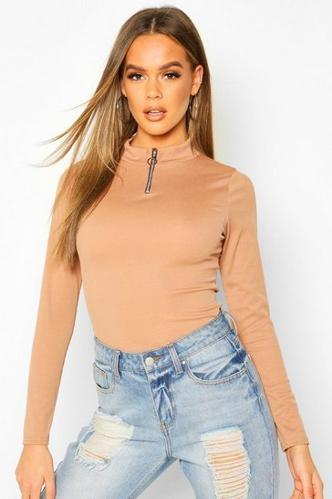 Camel Zip Front Rib High Neck Top
