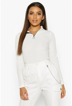 Ivory Zip Front Rib High Neck Top