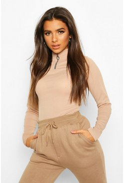 Stone Zip Front Rib High Neck Top