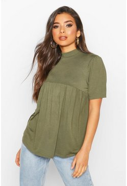 Womens Khaki High Neck Swing Smock