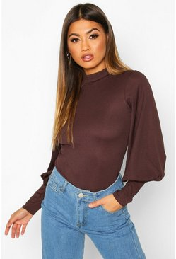 Womens Chocolate High Neck Balloon Sleeve Top