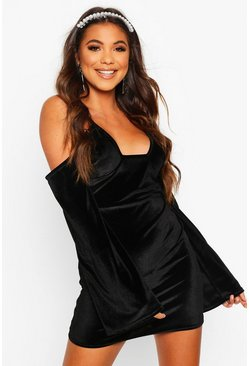 Black Velvet Cold Shoulder Bodycon Mini Dress