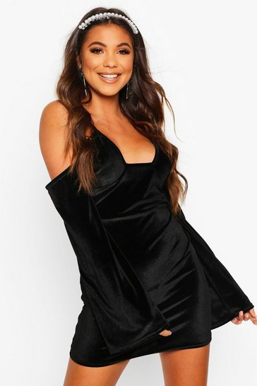 Velvet Cold Shoulder Bodycon Mini Dress