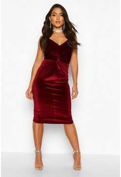 Womens Berry Velvet Twist Front Bodycon Midi Dress
