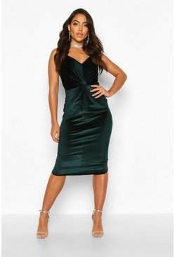 Emerald Velvet Twist Front Bodycon Midi Dress