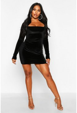 Black Velvet Square Neck Bodycon Mini Dress