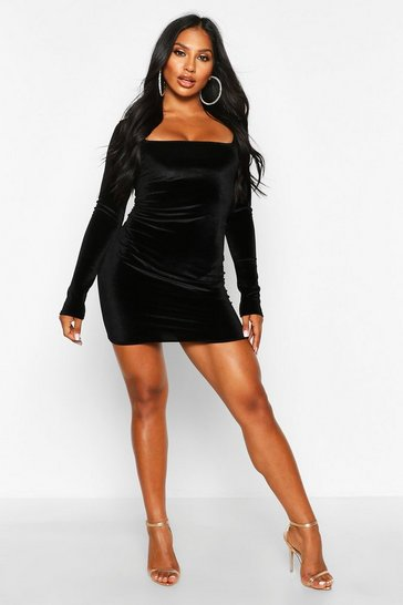 Velvet Square Neck Bodycon Mini Dress