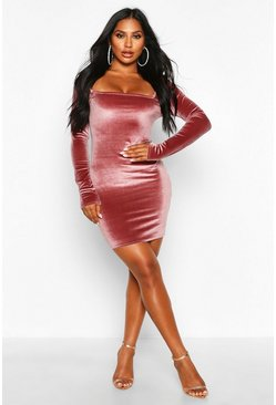 Pink Velvet Square Neck Bodycon Mini Dress