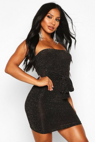 Gold Glitter Shimmer Bandeau Belted Bodycon Mini Dress