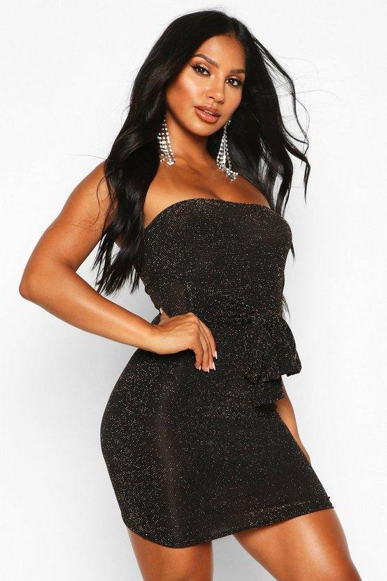Glitter Shimmer Bandeau Belted Bodycon Mini Dress
