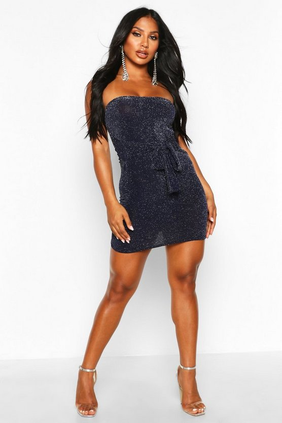 Womens Navy Glitter Shimmer Bandeau Belted Bodycon Mini Dress