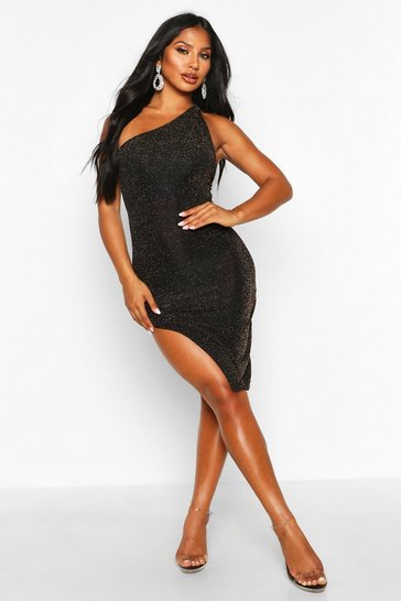 Gold Glitter Shimmer One Shoulder Midi Dress