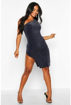 Navy Glitter Shimmer One Shoulder Midi Dress