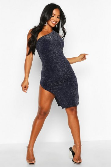 Womens Navy Glitter Shimmer One Shoulder Midi Dress