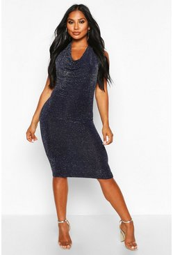Navy Glitter Shimmer Cowl Neck Midi Dress