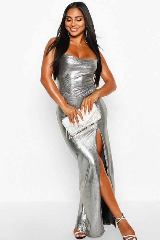 Silver Metallic Cowl Neck High Split Maxi