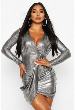 Silver Metallic Wrap Plunge Midi Dress