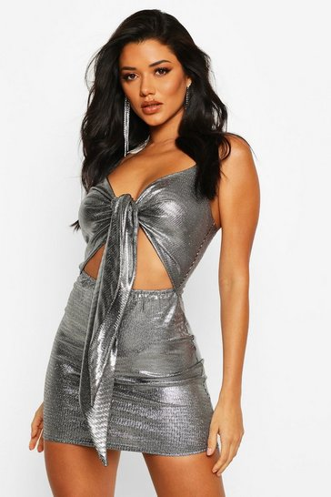 Womens Silver Metallic Plunge Tie Front Mini Dress